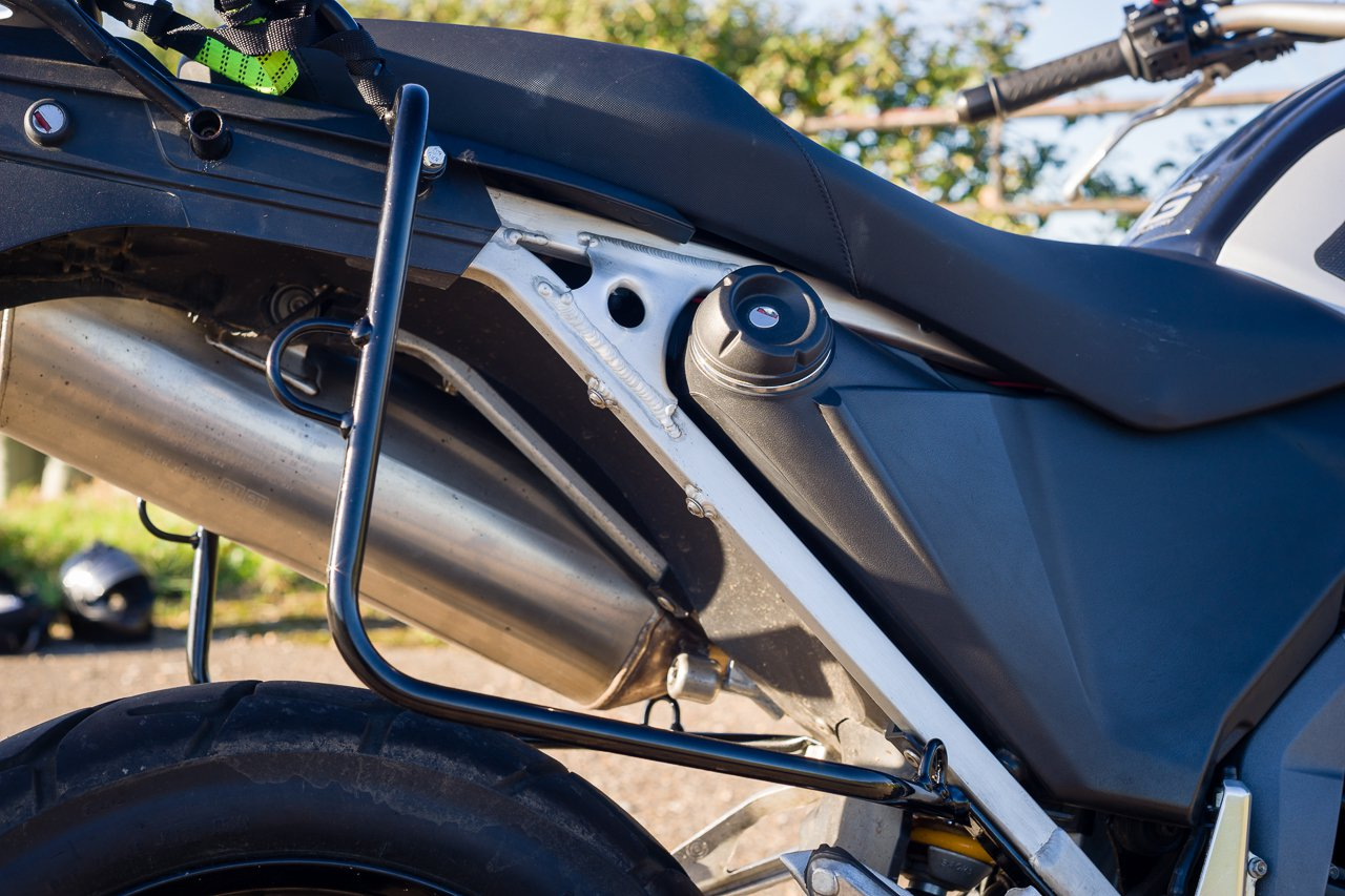 Righthand side DirtBagz pannier frame on G650 xCountry