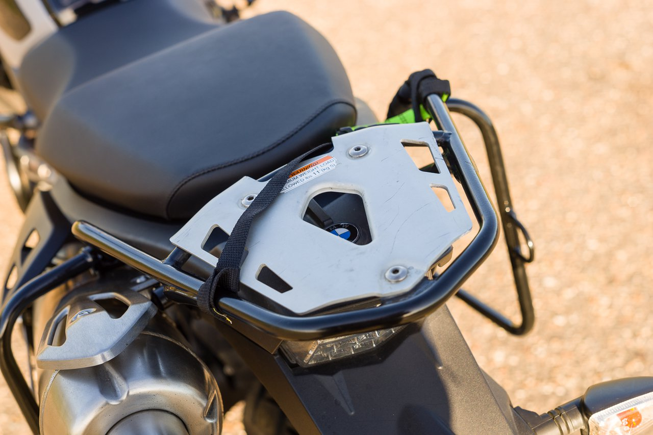 The OEM BMW G650x Country rear rack