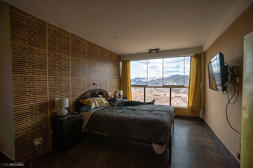 view from jamuy hostel in cusco peru