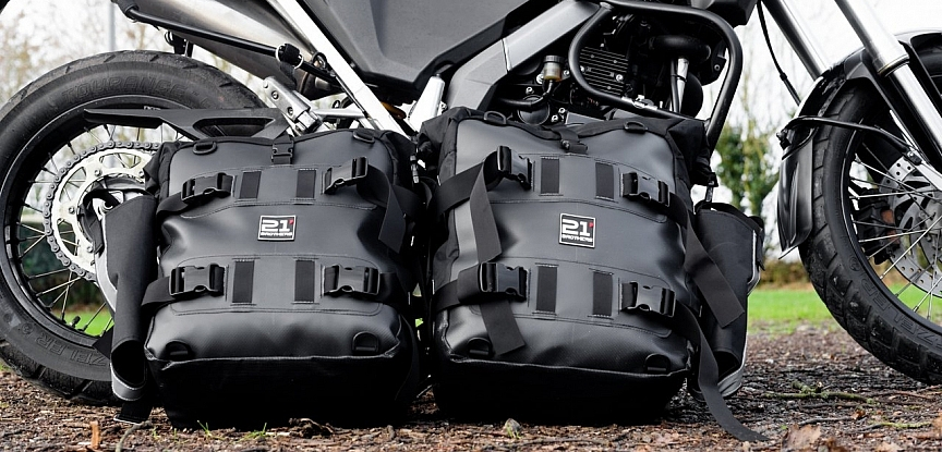 Panniers in front of BMW G650x Country