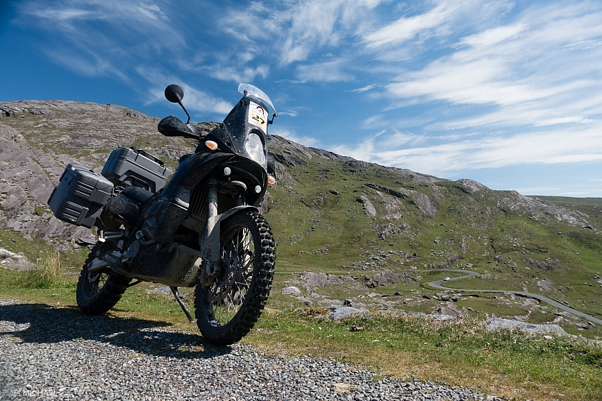 ktm 950 adventure on the healy pass ireland