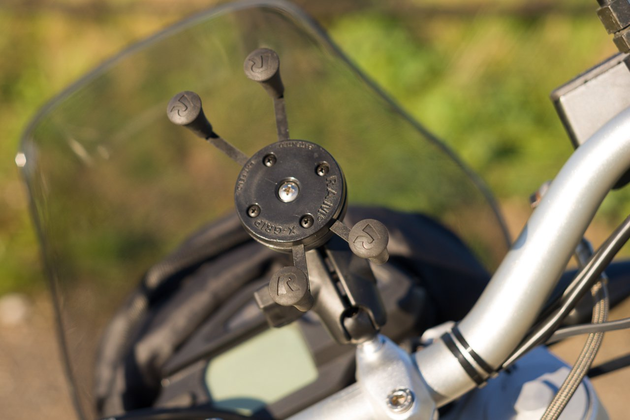 Ram Mount X-grip attached to handlebar clamp