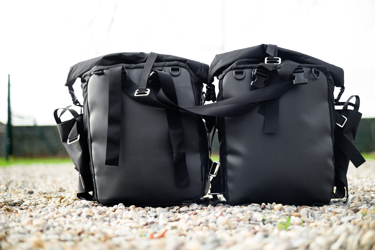 rear view of panniers