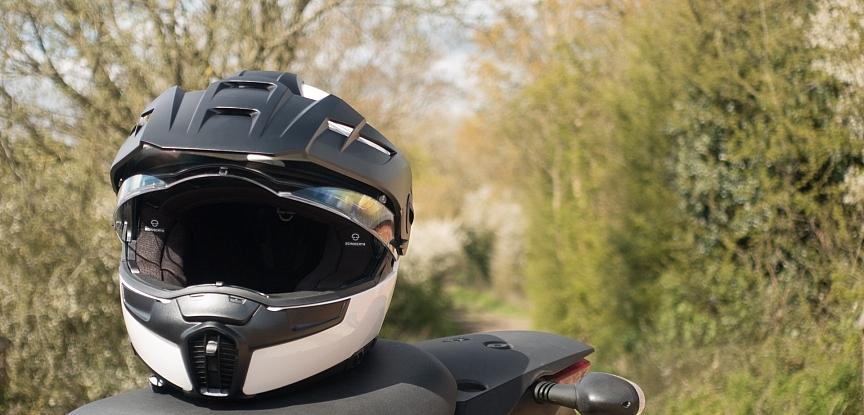 helmet on motorcycle seat